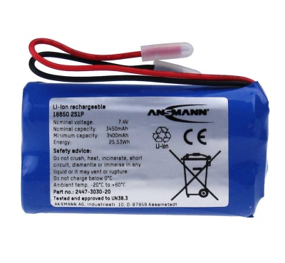 Ansmann Industrial 2S1P 7.4V 3450mAh High Capacity Rechargeable Li-ion Battery Pack