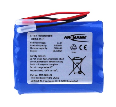Ansmann Industrial 3S1P 11.1V 3450mAh High Capacity Rechargeable Li-ion Battery Pack