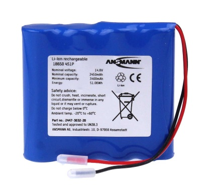 Ansmann Industrial 4S1P 14.8V 3450mAh High Capacity Rechargeable Li-ion Battery Pack