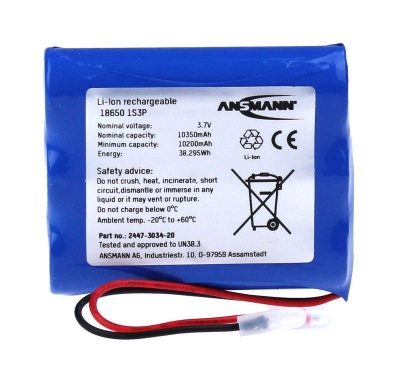 Ansmann Industrial 1S3P 3.7V 10350mAh High Capacity Rechargeable Li-ion Battery Pack