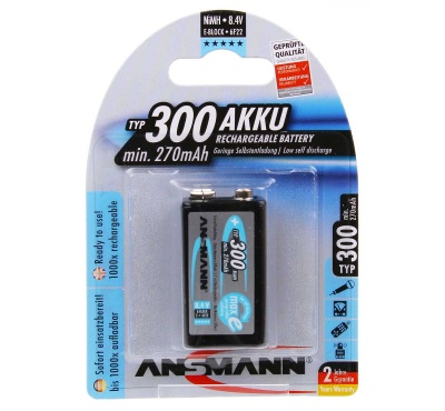 Ansmann 9v Rechargeable Batteries 300mAh