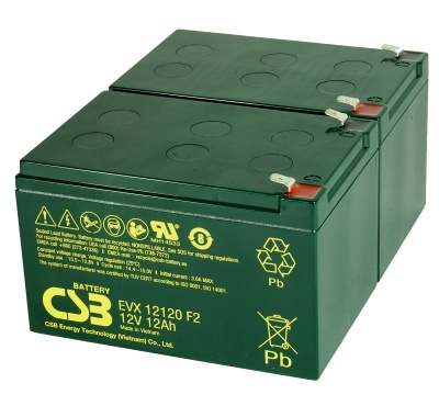 2 x CSB EVX12120 12V 12Ah Electric Bike Batteries