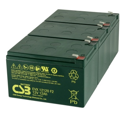 3 x CSB EVX12120 12V 12Ah Powabyke Electric Bike Batteries
