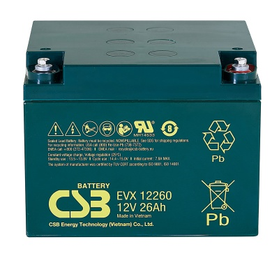 CSB EVX12260 12V 26Ah Cyclic Lead Acid Battery