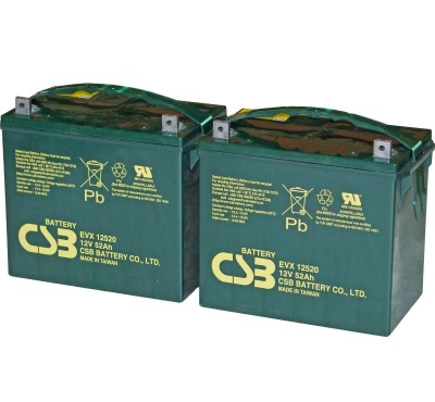 2 X CSB EVX12520 12V 52Ah Mobility Scooter Batteries