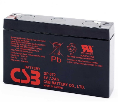 CSB GP672 F1 6V 8.4Ah Sealed Lead Acid Battery