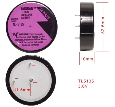 TL5135 Tadiran wafer cell 3.6v