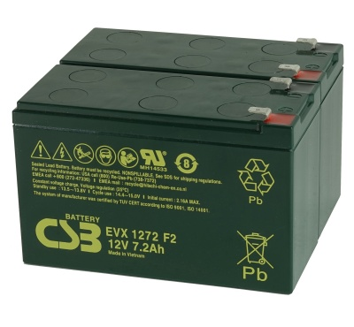 Pair of CSB EVX1272 F2 7.2V 12Ah Mobility Scooter Batteries