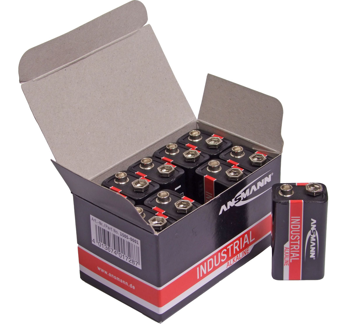Ansmann Industrial Alkaline 9v / PP3  Batteries Box 10