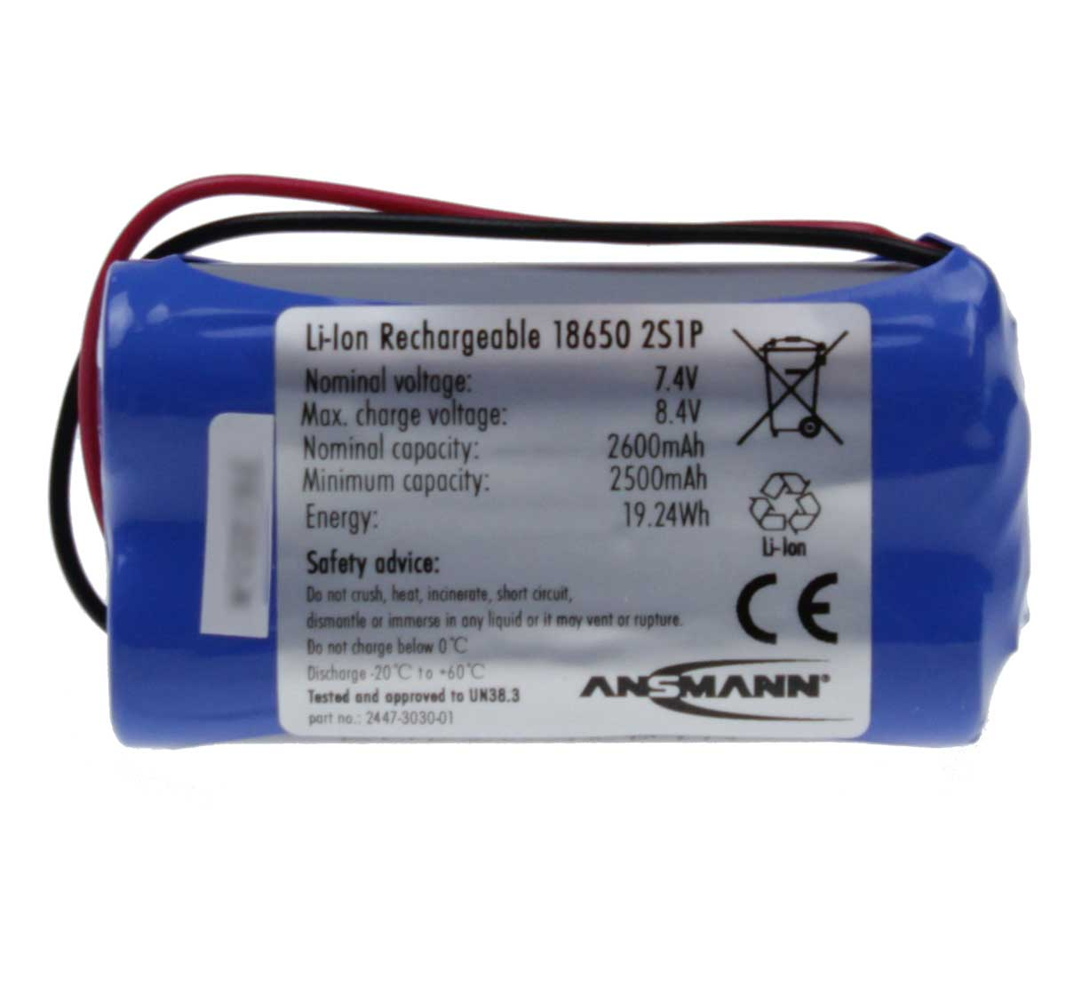 Ansmann Industrial 2S1P 7.4V 2600mAh Rechargeable Li-ion Battery Pack