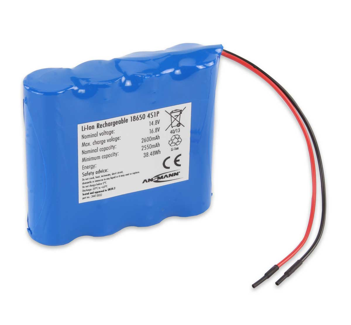 Ansmann Industrial 4S1P 14.8V 2600mAh In-Line Rechargeable Li-ion Battery Pack