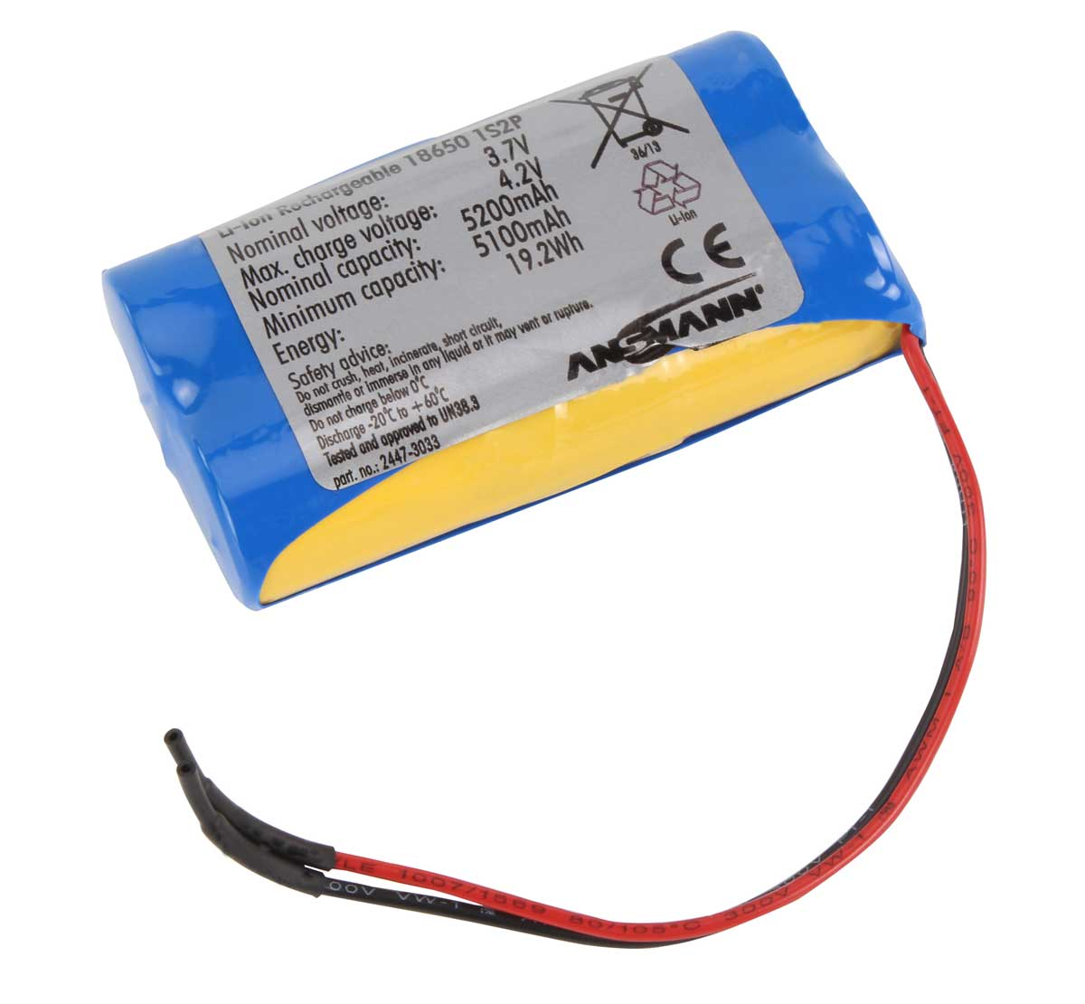 Ansmann Industrial 1S2P 3.7V 5200mAh Rechargeable Li-ion Battery Pack
