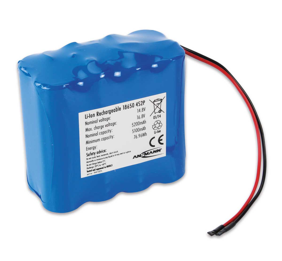 Ansmann Industrial 4S2P 14.8V 5200mAh Rechargeable Li-ion Battery Pack