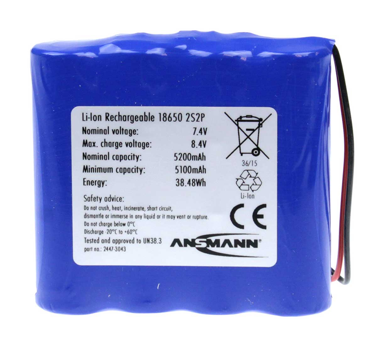 Ansmann Industrial 2S2P 7.4V 5200mAh In-Line Rechargeable Li-ion Battery Pack
