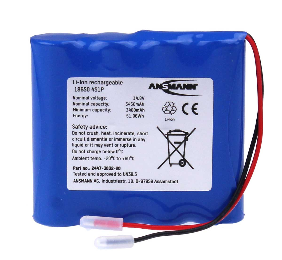 Ansmann Industrial 4S1P 14.54V 3500mAh High Capacity Rechargeable Li-ion Battery Pack