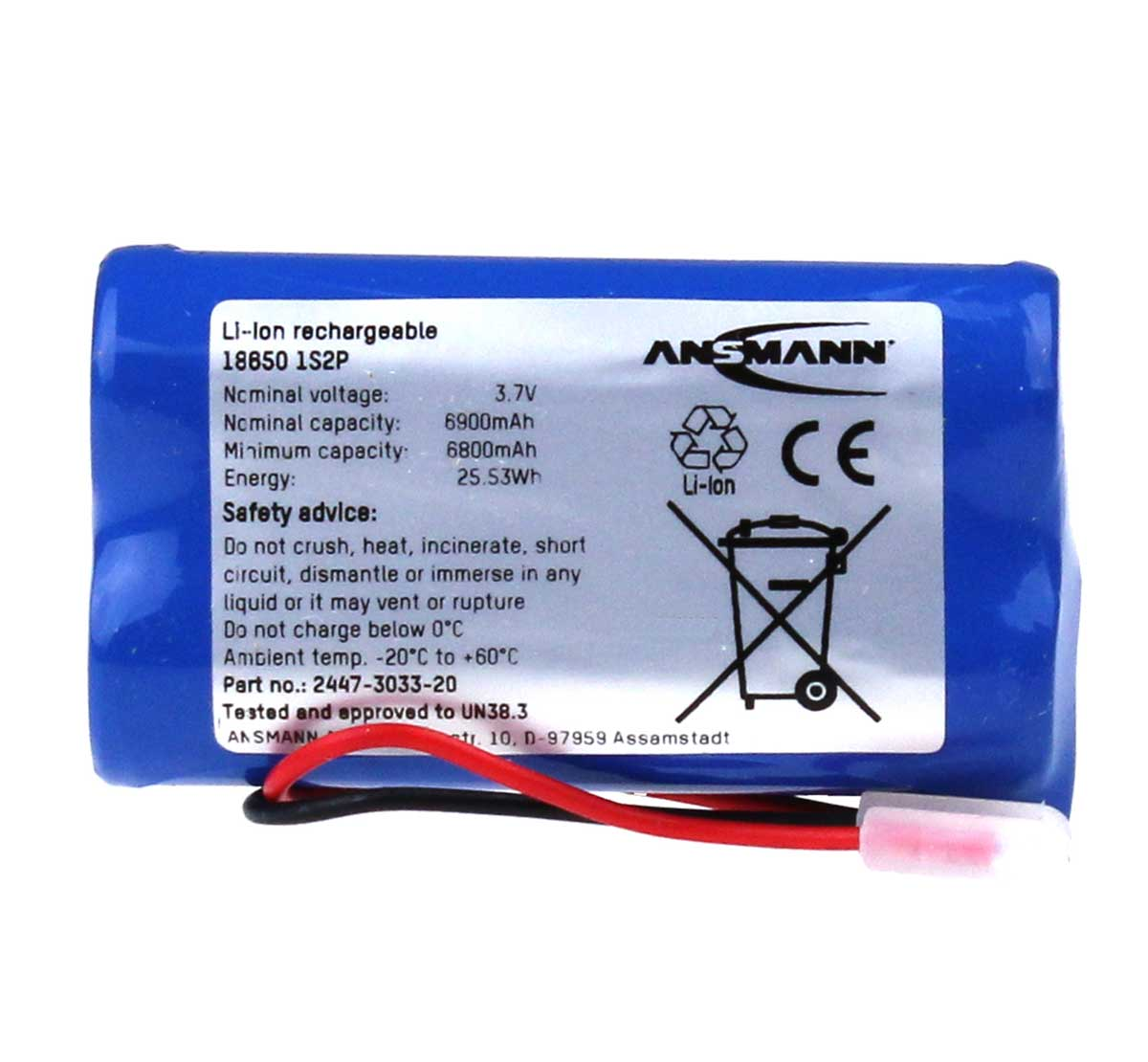 Ansmann Industrial 1S2P 3.635V 7000mAh High Capacity Rechargeable Li-ion Battery Pack