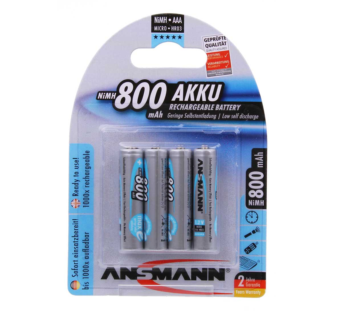 Ansmann AAA Rechargeable Batteries 800mAh Pack 4