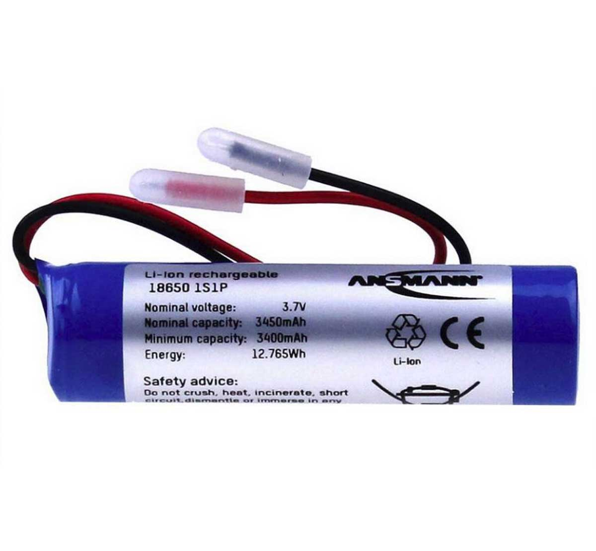 Ansmann Industrial 1S1P 3.7V 3450mAh High Capacity Rechargeable Li-ion Battery Pack