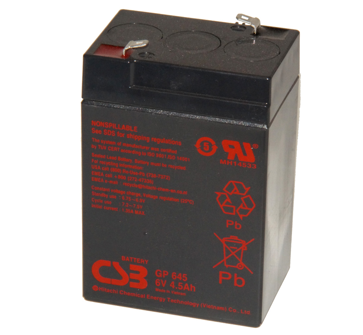 CSB GP645 F1 6V 4.5Ah Sealed Lead Acid Battery