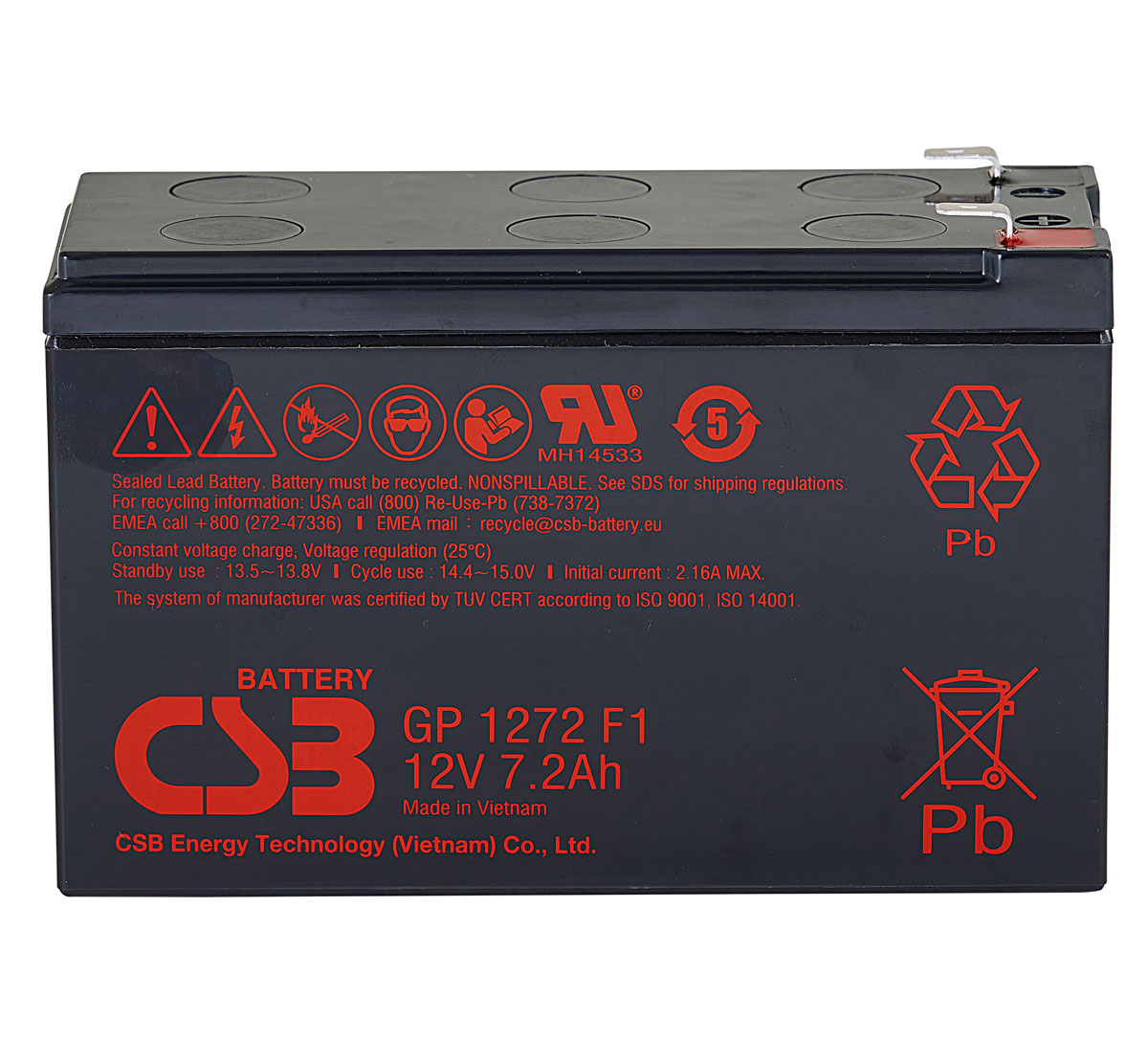CSB GP1272 F1 12V 7.2Ah Lead Acid Battery