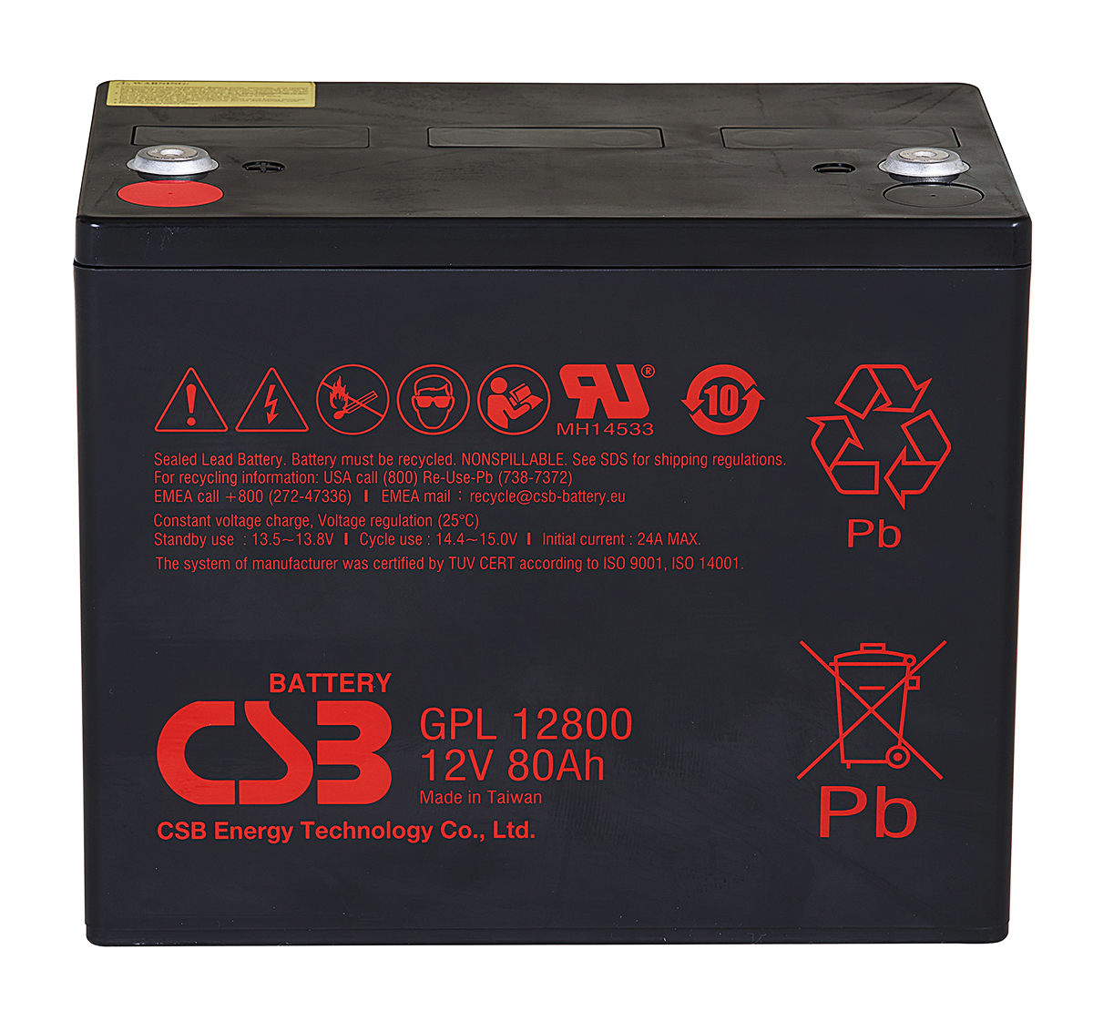 CSB GPL12800 12V 80Ah Lead Acid Battery