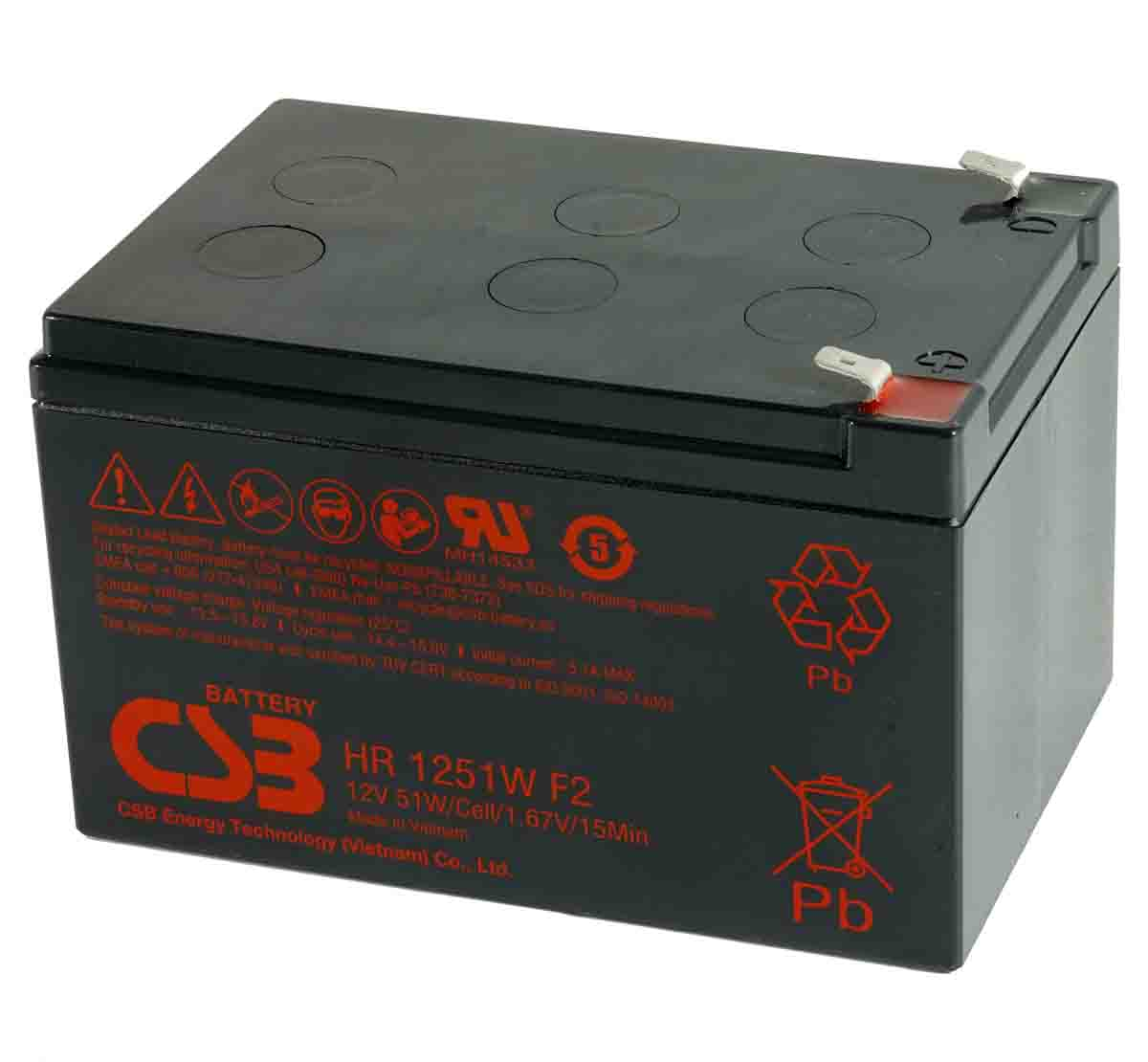 CSB HR1251W 12V 51W Sealed Lead Acid Battery