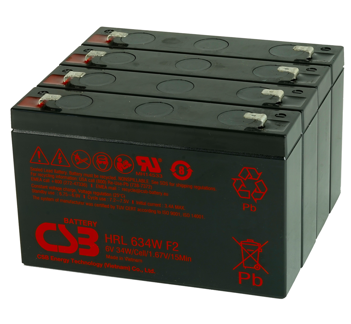 CSB HRL634W F2 VRLA Pack of 4 Batteries