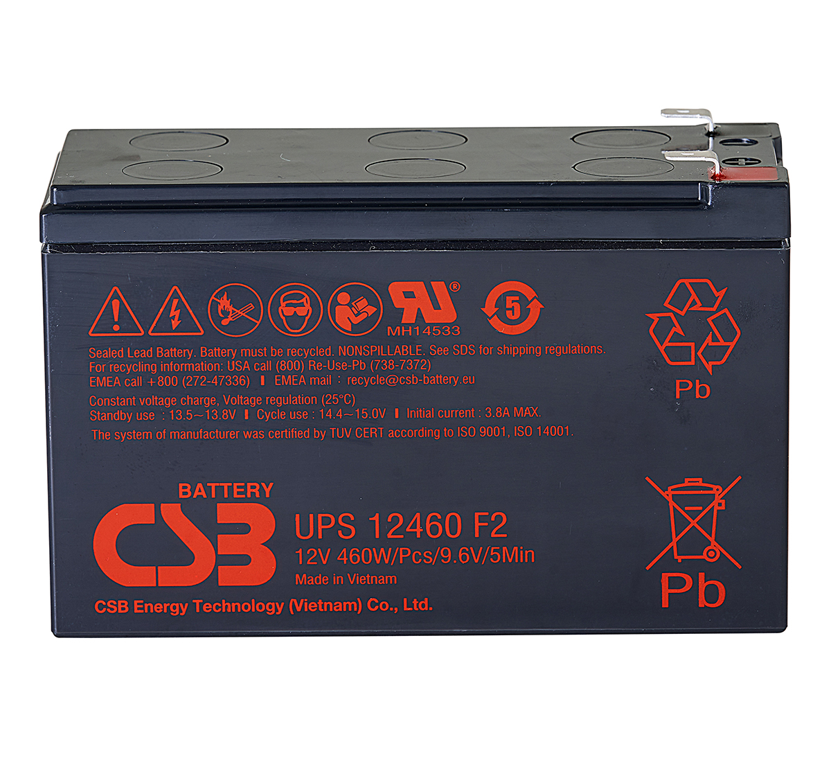 CSB UPS12460 12V 460W Lead Acid Battery