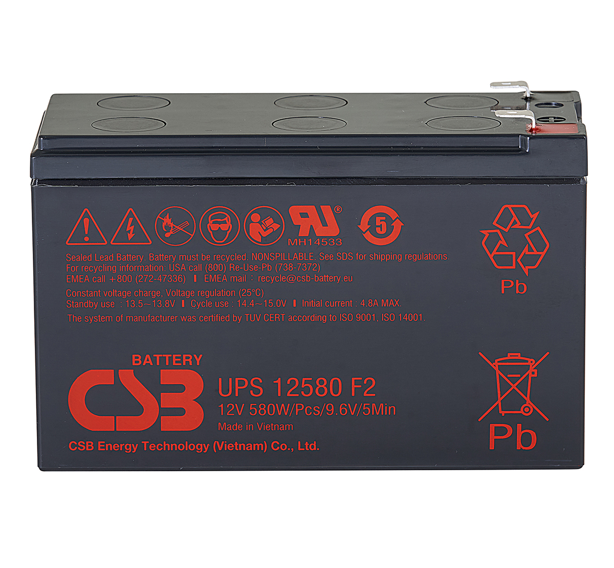 CSB UPS12580 12V 580W Lead Acid Battery