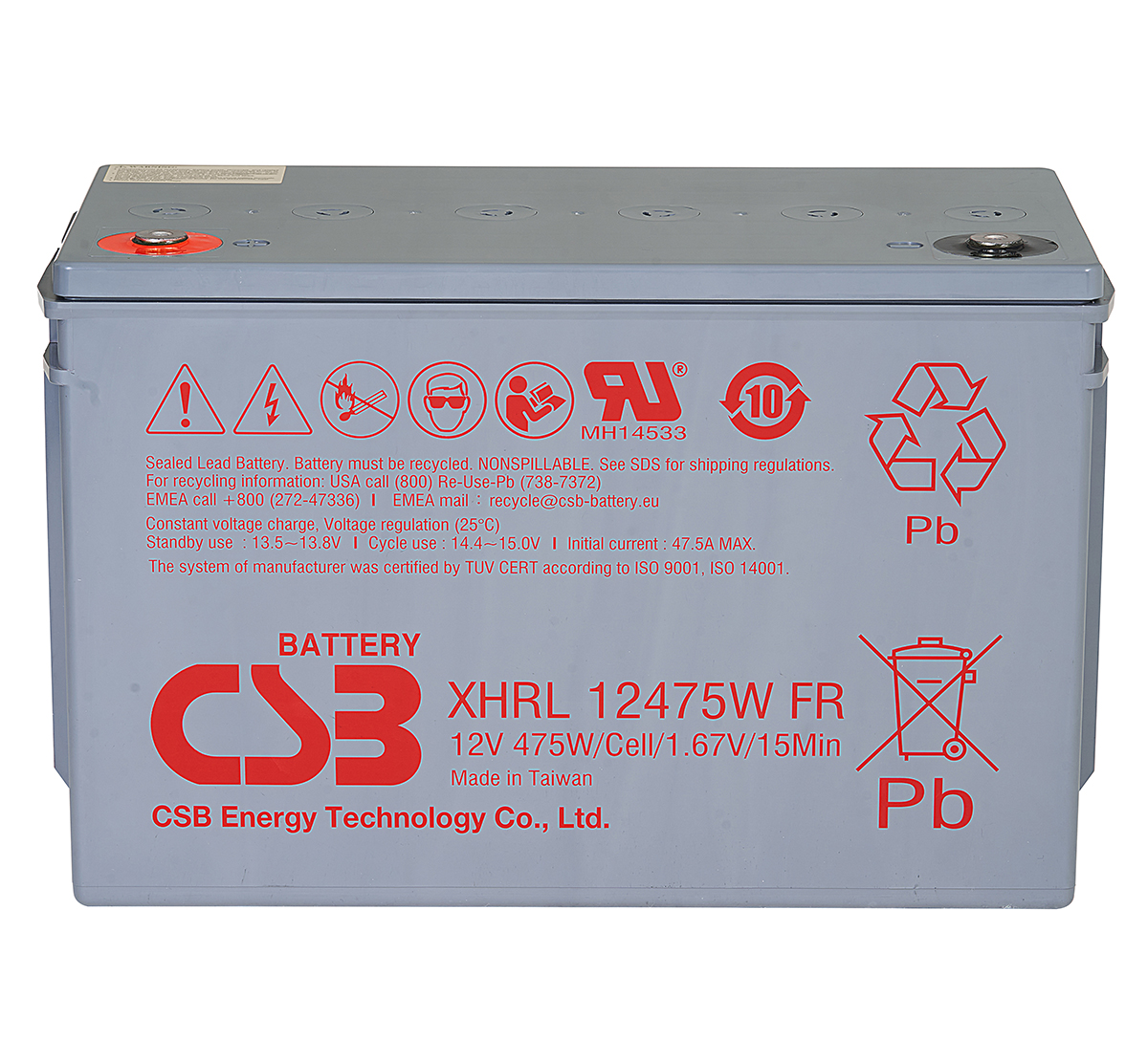 CSB XHRL12475W 475W Extreme High Rate Long Life Battery