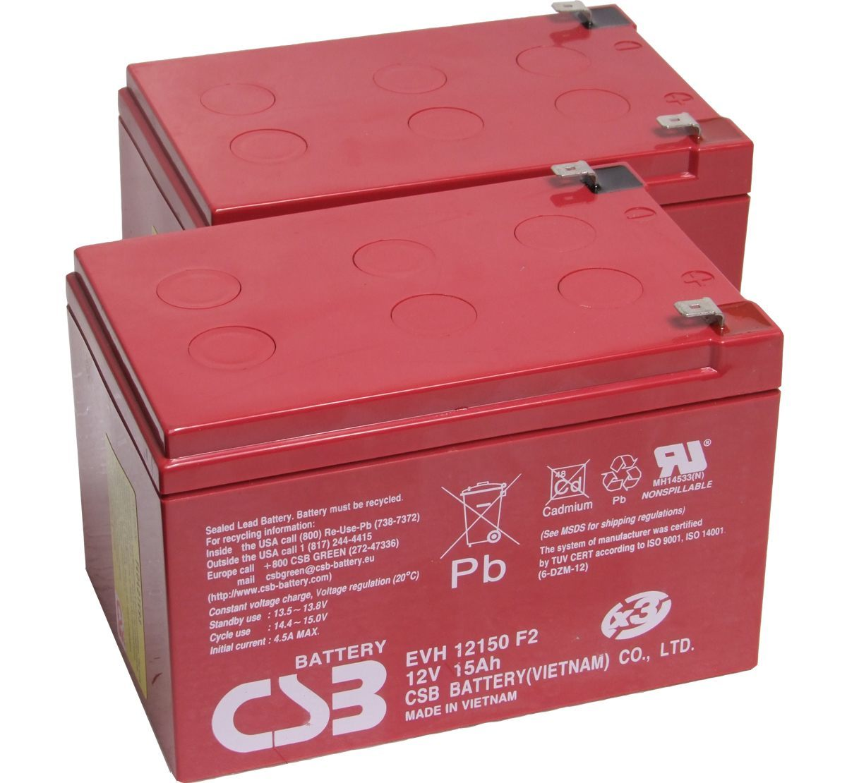 Pair of CSB EVH12150 12V 15Ah Mobility Scooter Batteries