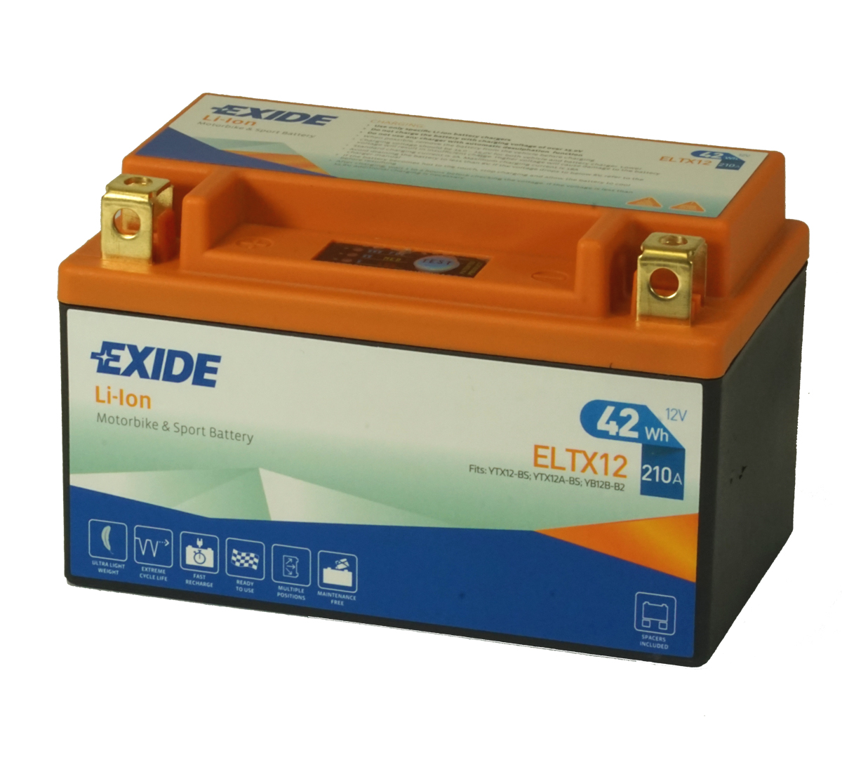 Exide ELTX12 Lithium Motorcycle Battery