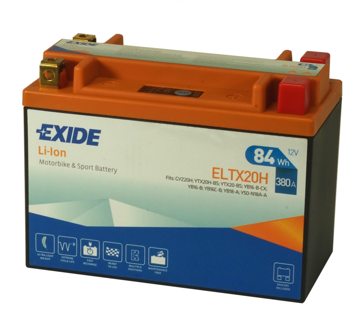 Exide ELTX20H Lithium Motorcycle Battery