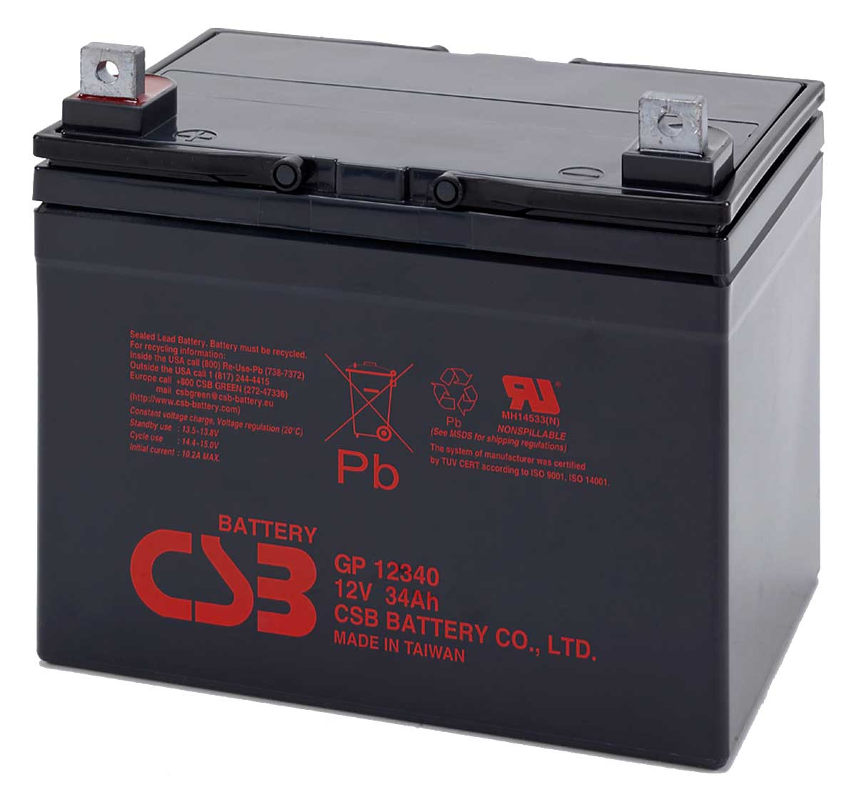 CSB GP12340 12V 34Ah Sealed Lead Acid Battery