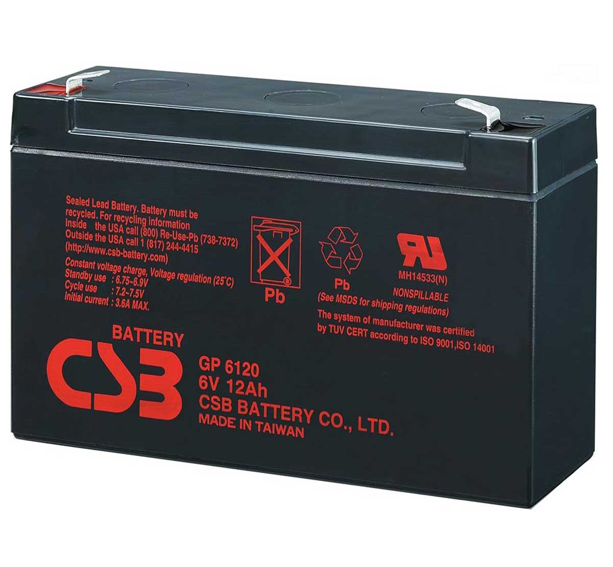 CSB GP 6120 F2 6V 12Ah Sealed Lead Acid Battery