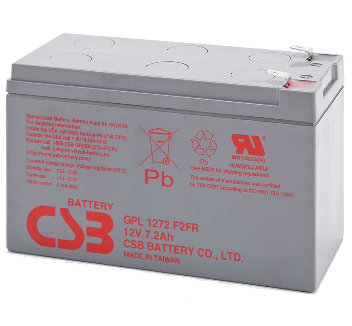 CSB GPL1272 12V 7.2Ah Sealed Lead Acid Battery