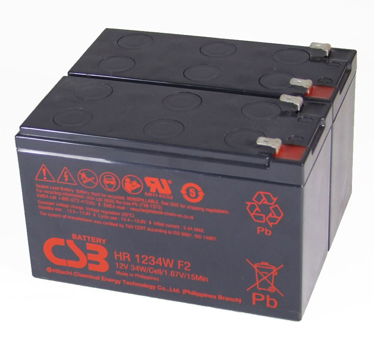 CSB HR1234W x 2 12V 8Ah Sealed Lead Acid Batteries