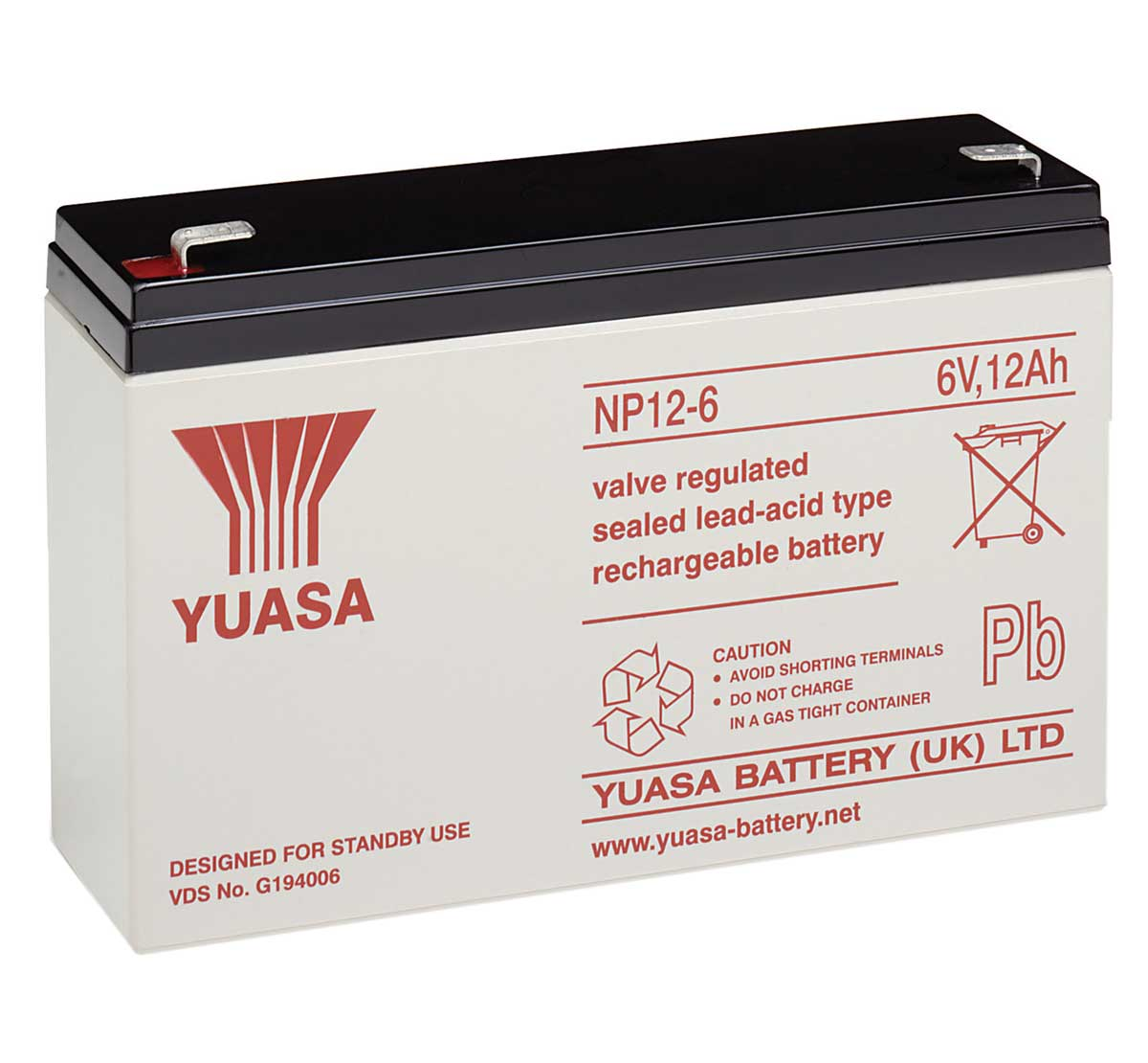 Yuasa NP12-6 6V 12Ah Sealed Lead Acid Battery