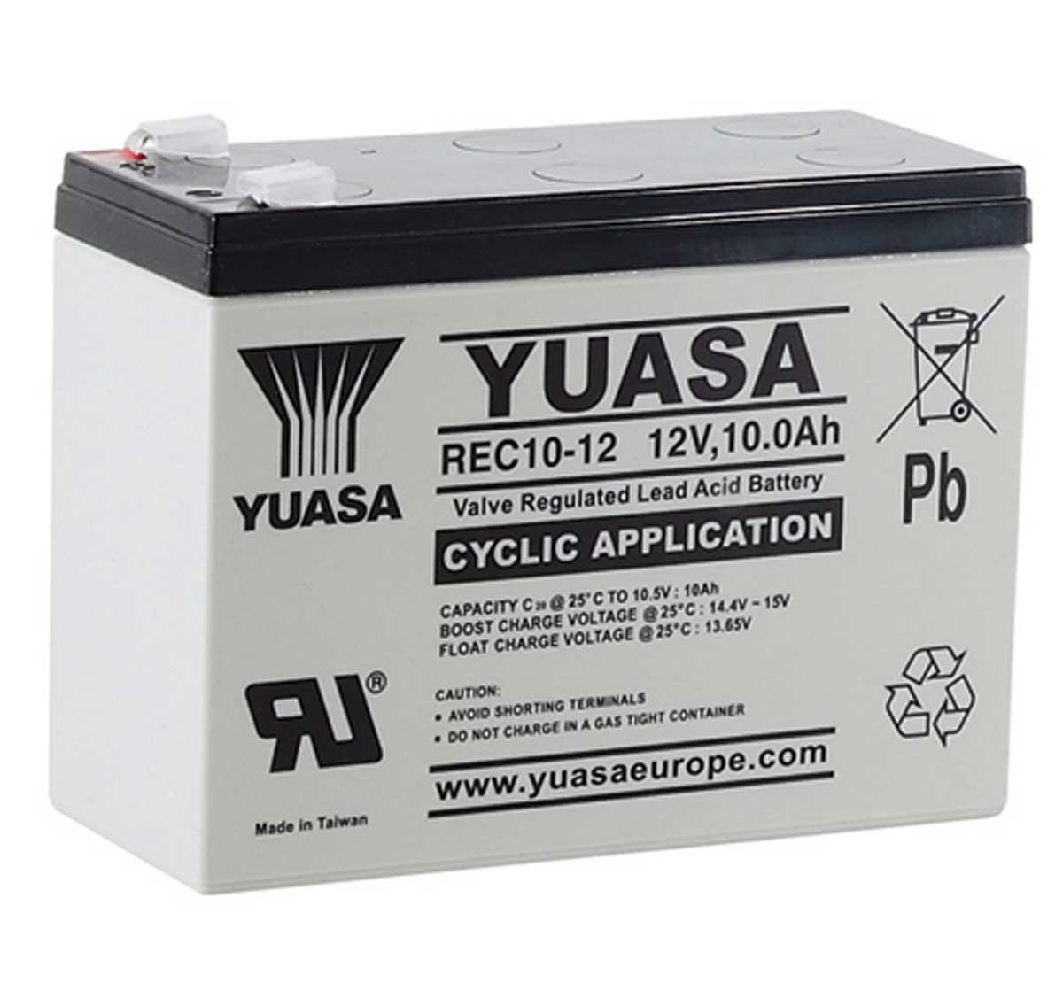 Yuasa REC10-12 12V 10Ah Rechargeable Cyclic Battery