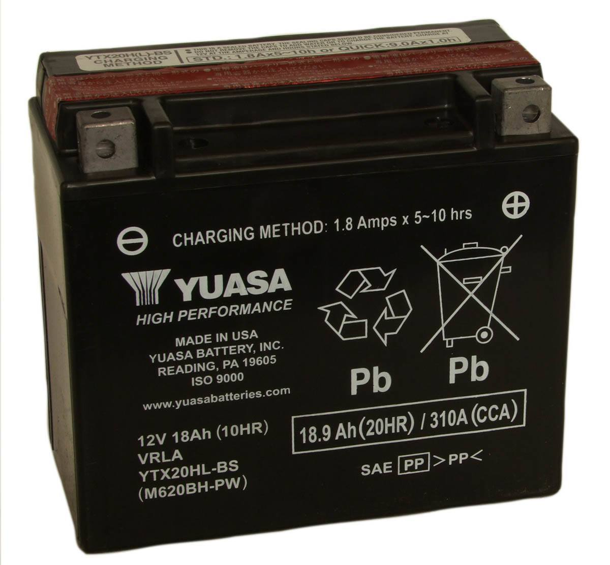 Yuasa YTX20HL-BS 12V Motorcycle Battery
