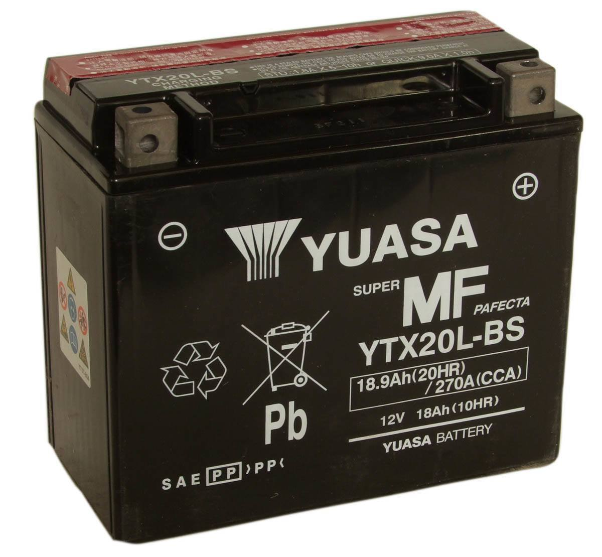 YTX20L-BS Yuasa 12V Motorcycle Battery