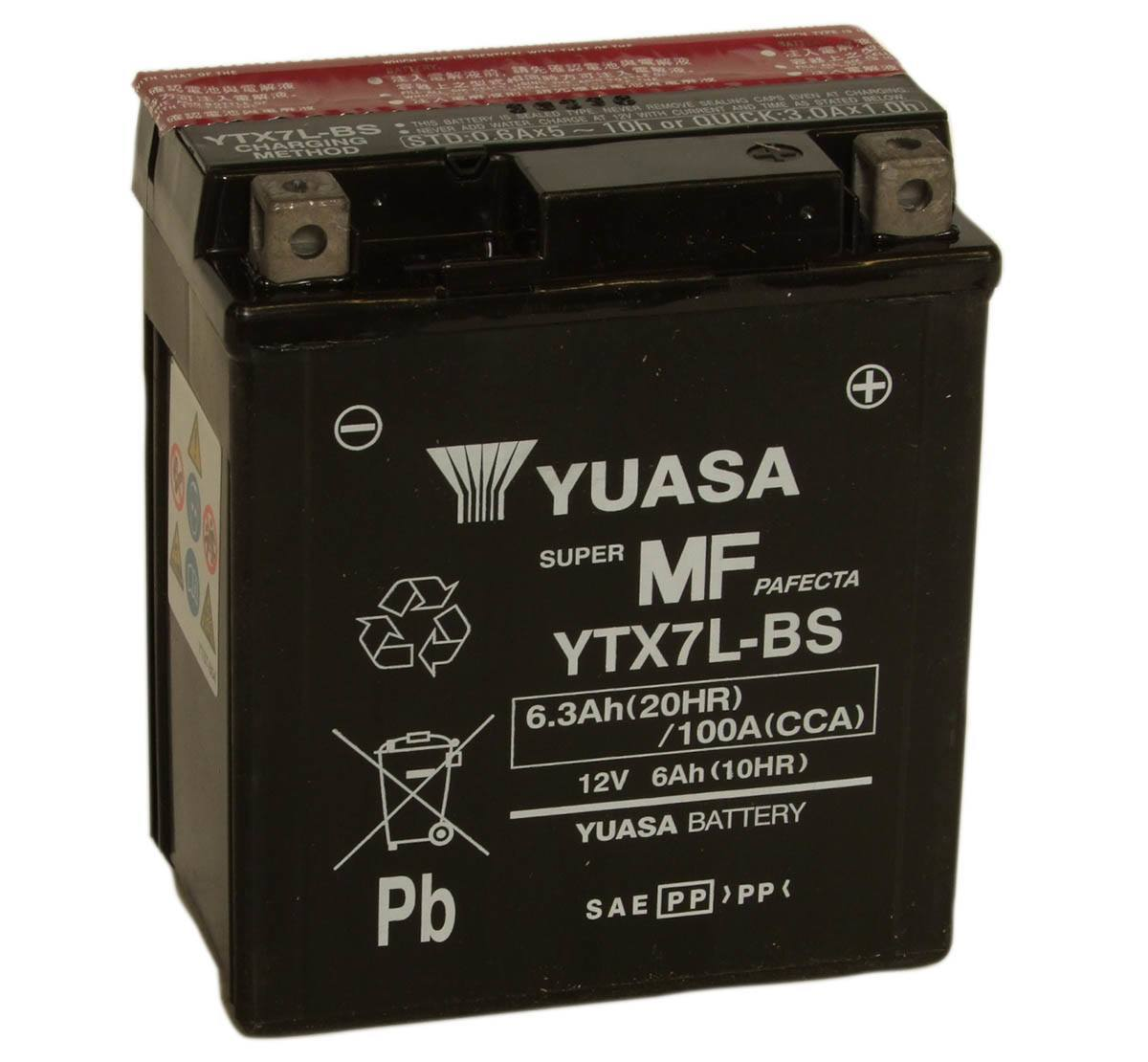 Yuasa YTX7L-BS 12V Motorcycle Battery