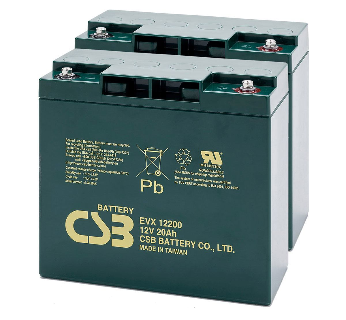 Pair of CSB EVX12200 12V 20Ah Mobility Scooter Batteries