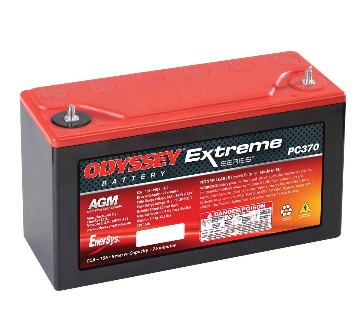 Odyssey PC370 Extreme Racing 15 Starter Battery