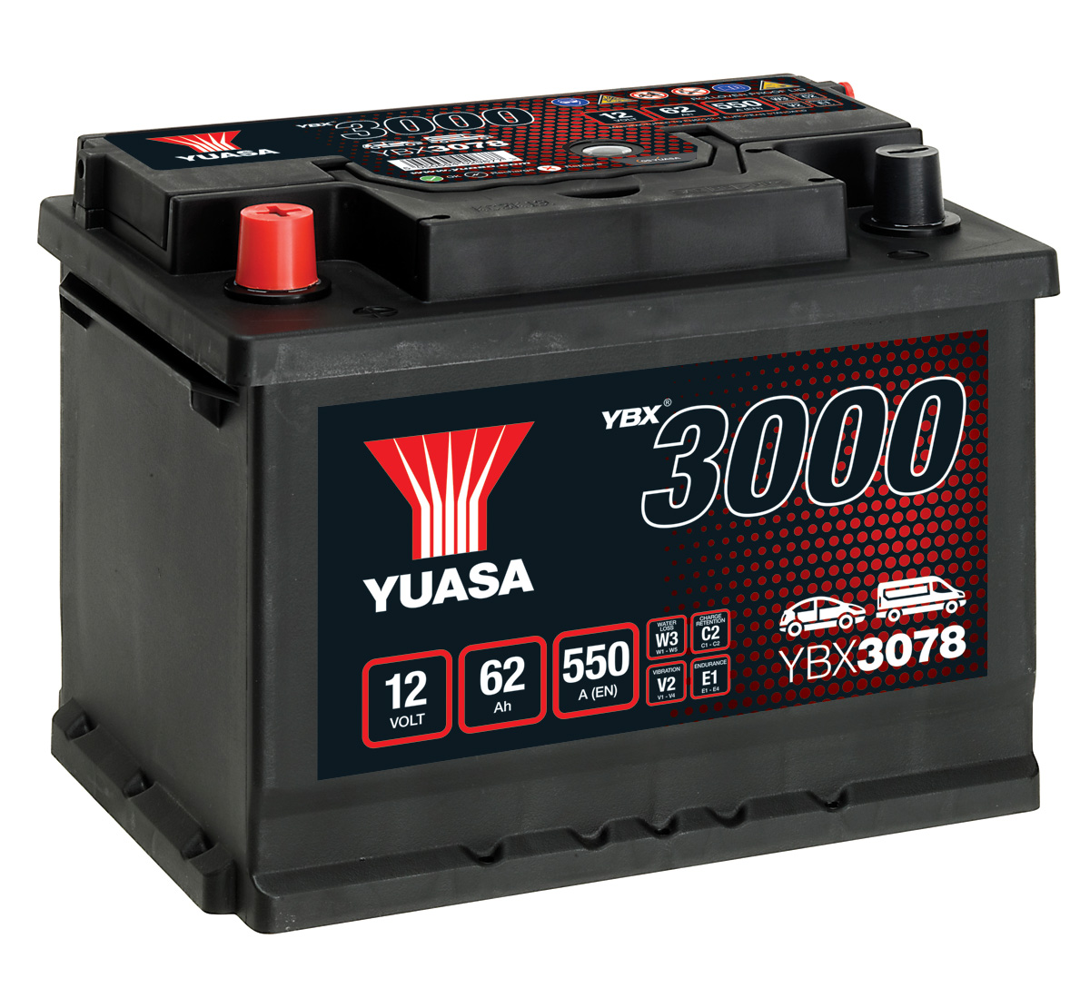 Yuasa YBX3078 078 Size Replacement Car Battery