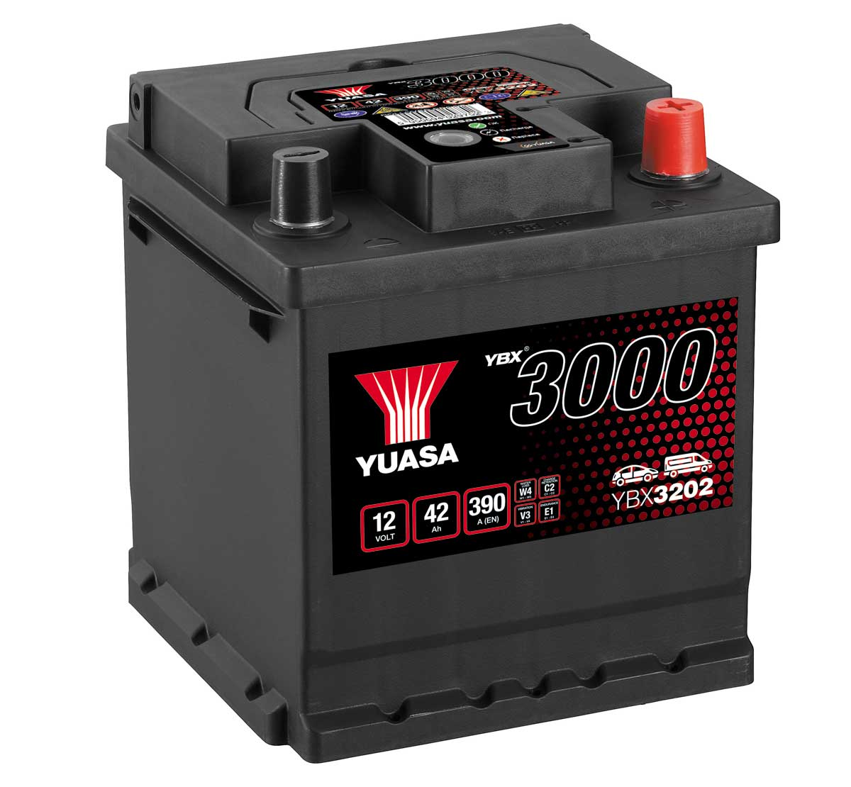 Yuasa YBX3202 12V 202 Size Sealed Car Battery