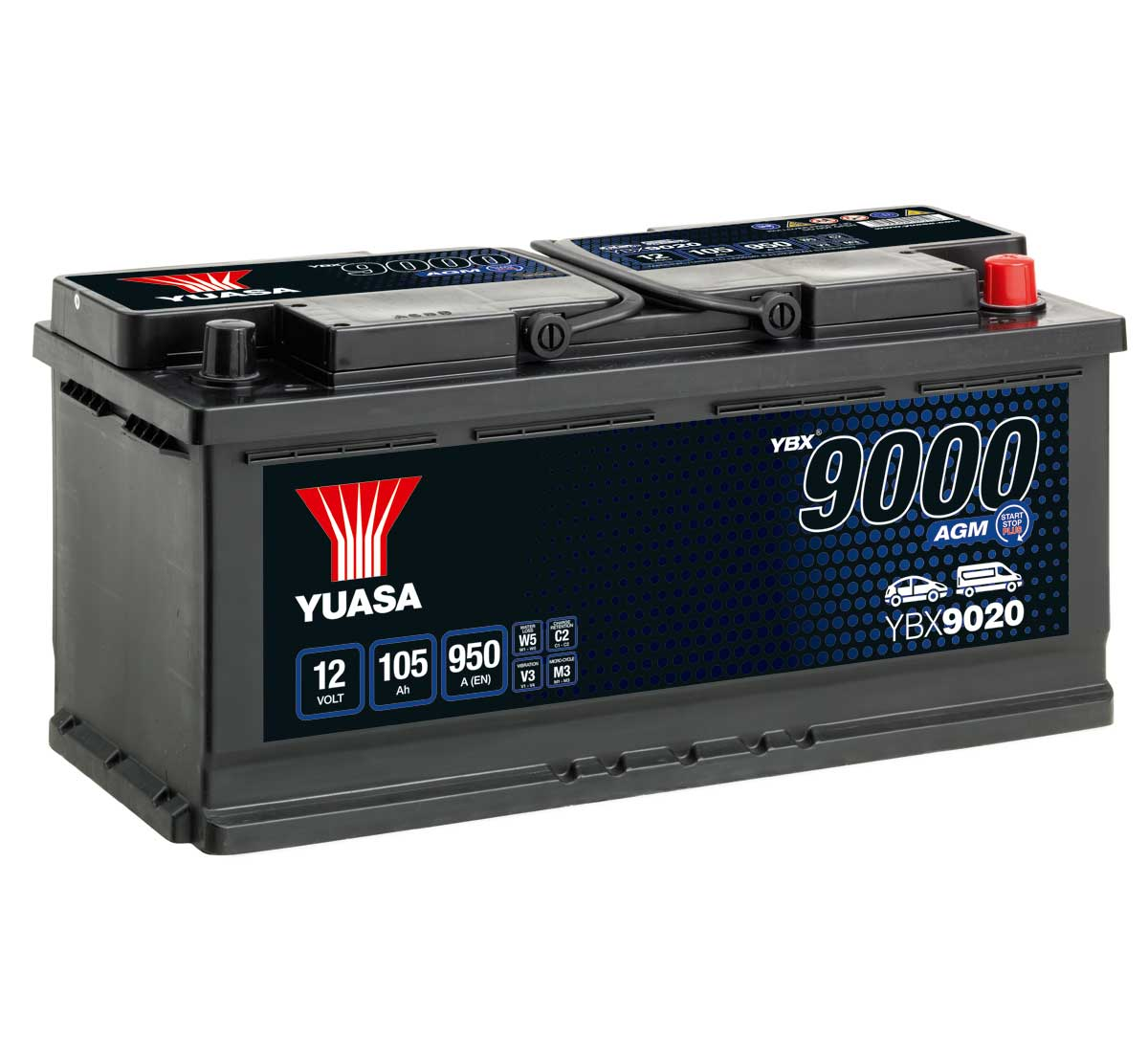 Yuasa YBX9020 AGM 12V 020 Car Battery